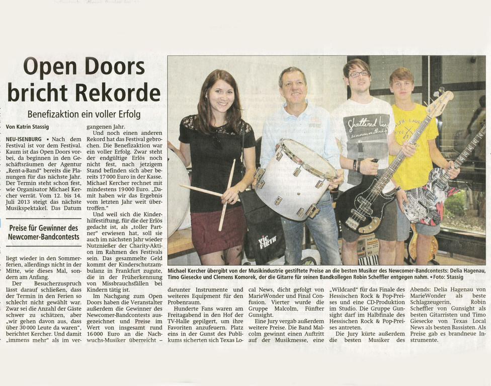 Artikel Offenbach Post, 26. Juli 2012