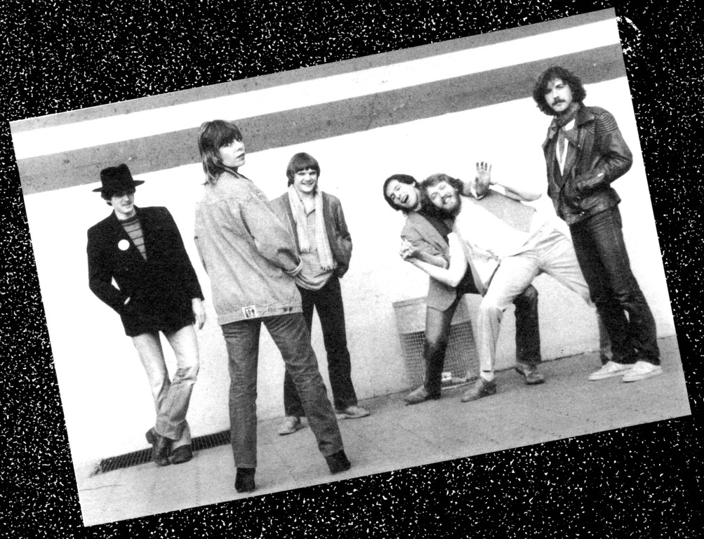 Bandfoto 1981, v.l.n.r.: Howard Scarr, Ute Weber, Achim Grimm, Christian Felke, Heiner Seikel, Lothar Bihn