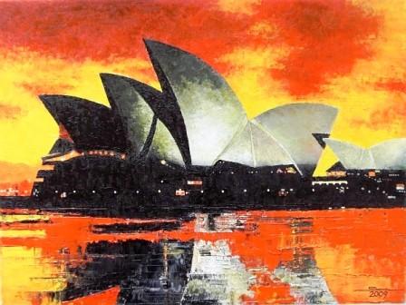 Sydney - Oper ölpinsel-und Spachtel  40x30 cm € 280,-