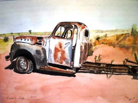 Autowrack in Namib-Wüste