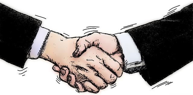 「ほんじゃま、握手っと」