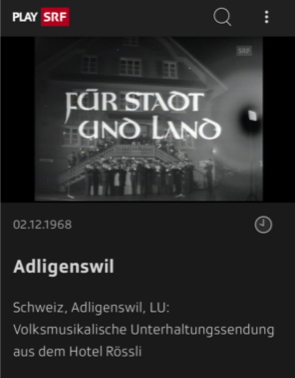 Volksmusikalische Unterhaltungssendung aus dem Hotel Rössli