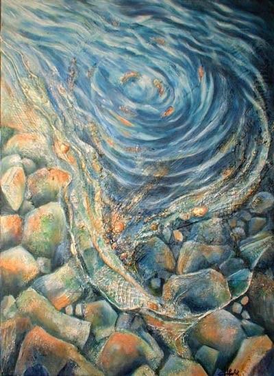sous l'eau - peinture contemporaine de Sylvie Boulet