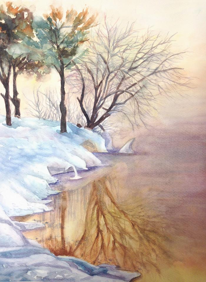 brume sur le lac gelé