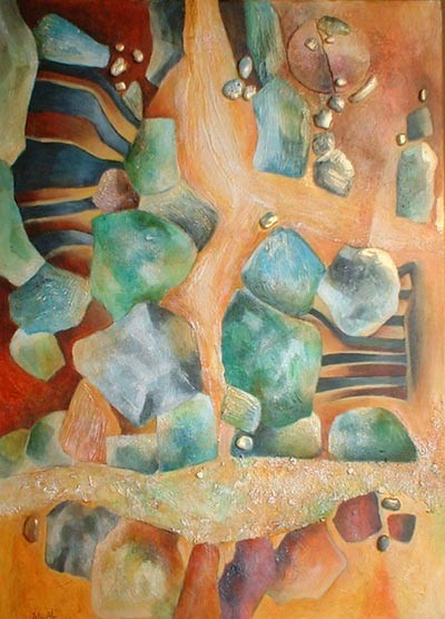 avalanche émeraude - peinture contemporaine de Sylvie Boulet