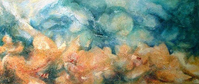 plage - peinture contemporaine de Sylvie Boulet-disponible, enacadré