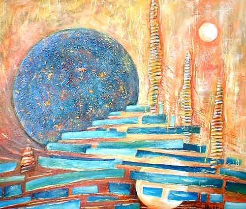 lunes - peinture contemporaine de Sylvie Boulet-disponible