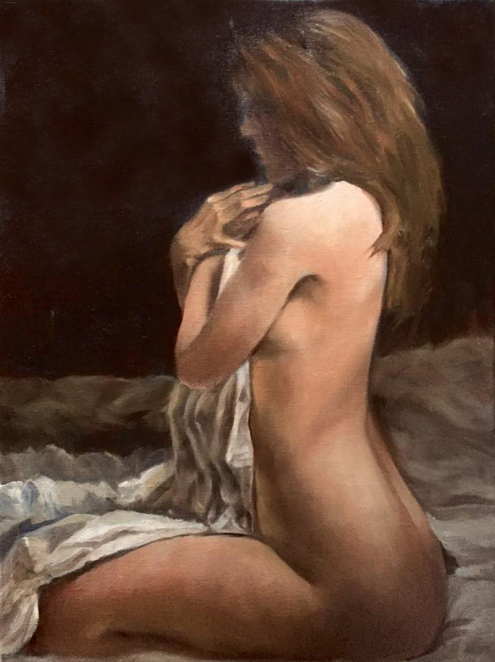 Seated Nude - Oil on canvas