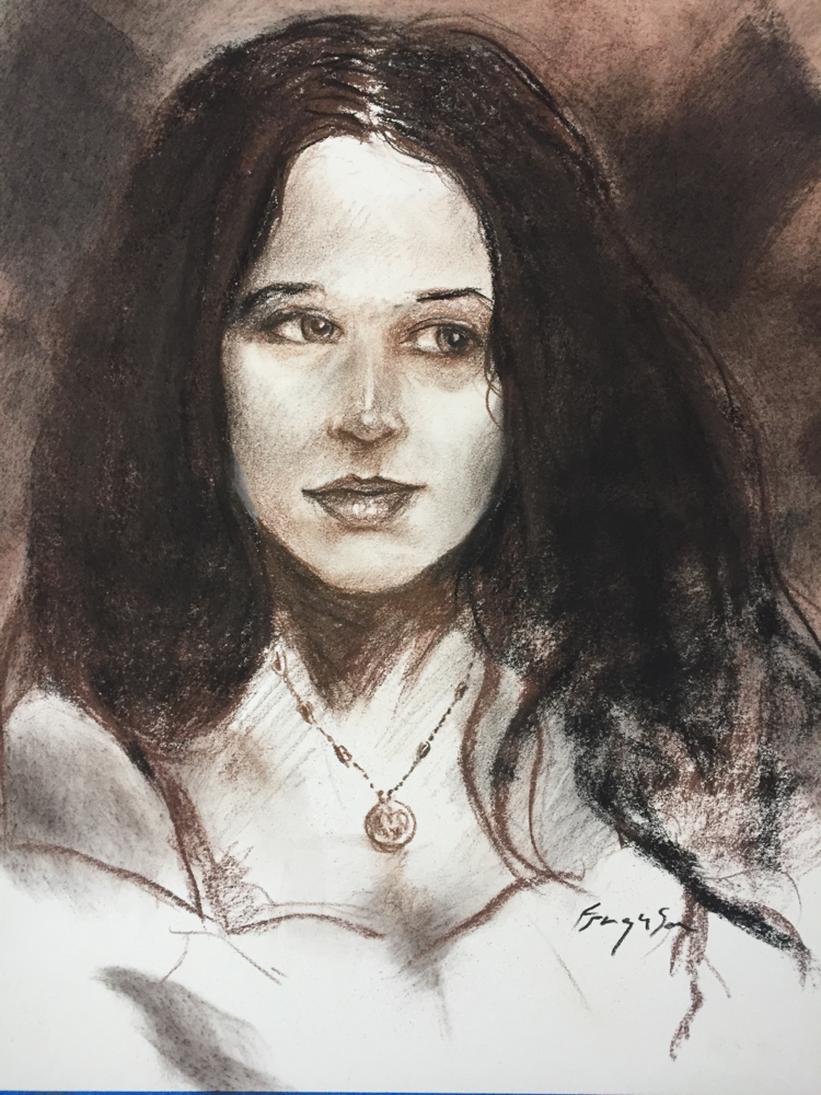 Daniella - charcoal and brown chalk