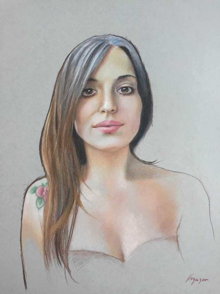 Chiara - pastel on toned paper
