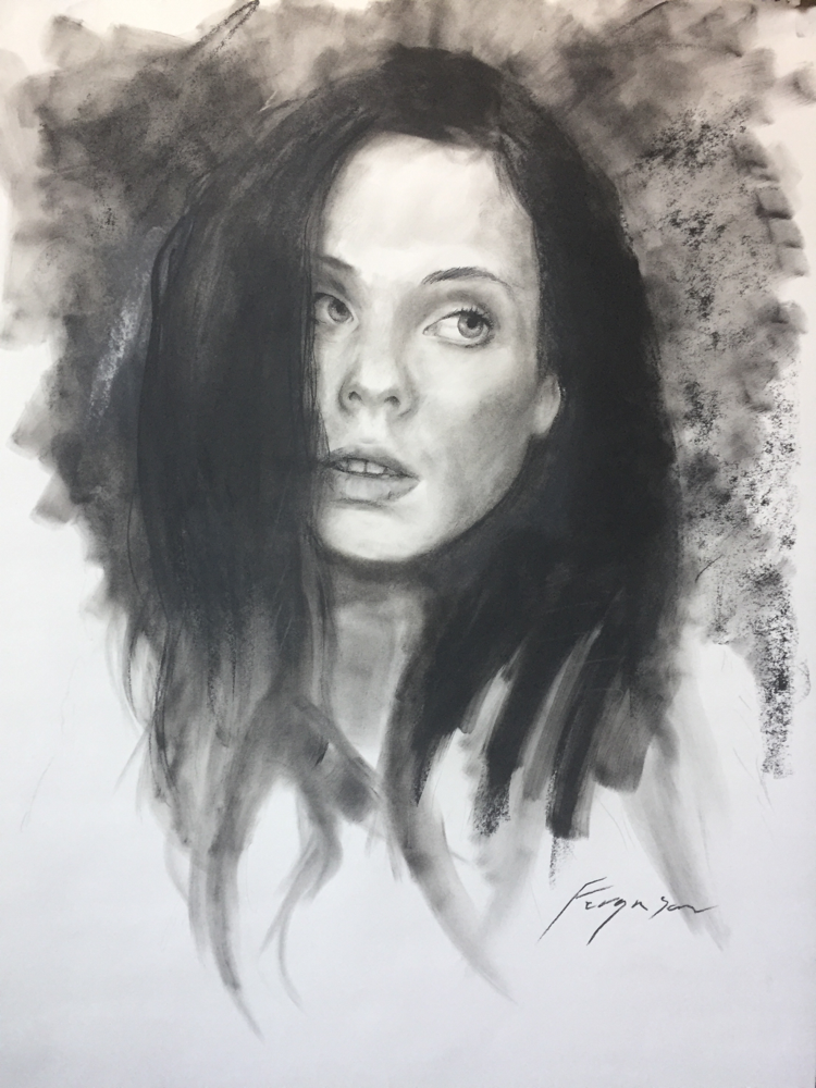 Nadine - charcoal on paper