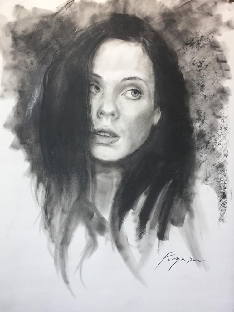 Nadine - charcoal on paper