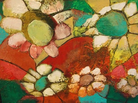 Mosaique florale, techniques mixtes - 50cm x 60 cm- Tous droits réservés @ Sylvain Demers 2014 -  VENDU