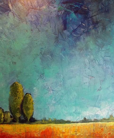 Paysage1405, acrylique- 75cm x 60cm- Tous droits réservés@Sylvain Demers 2014 - DISPONIBLE