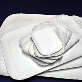 VASSOI CARTONE BIANCO POLITENATO - Vassoio in cartoncino uso alimentare,colore bianco varie misure.