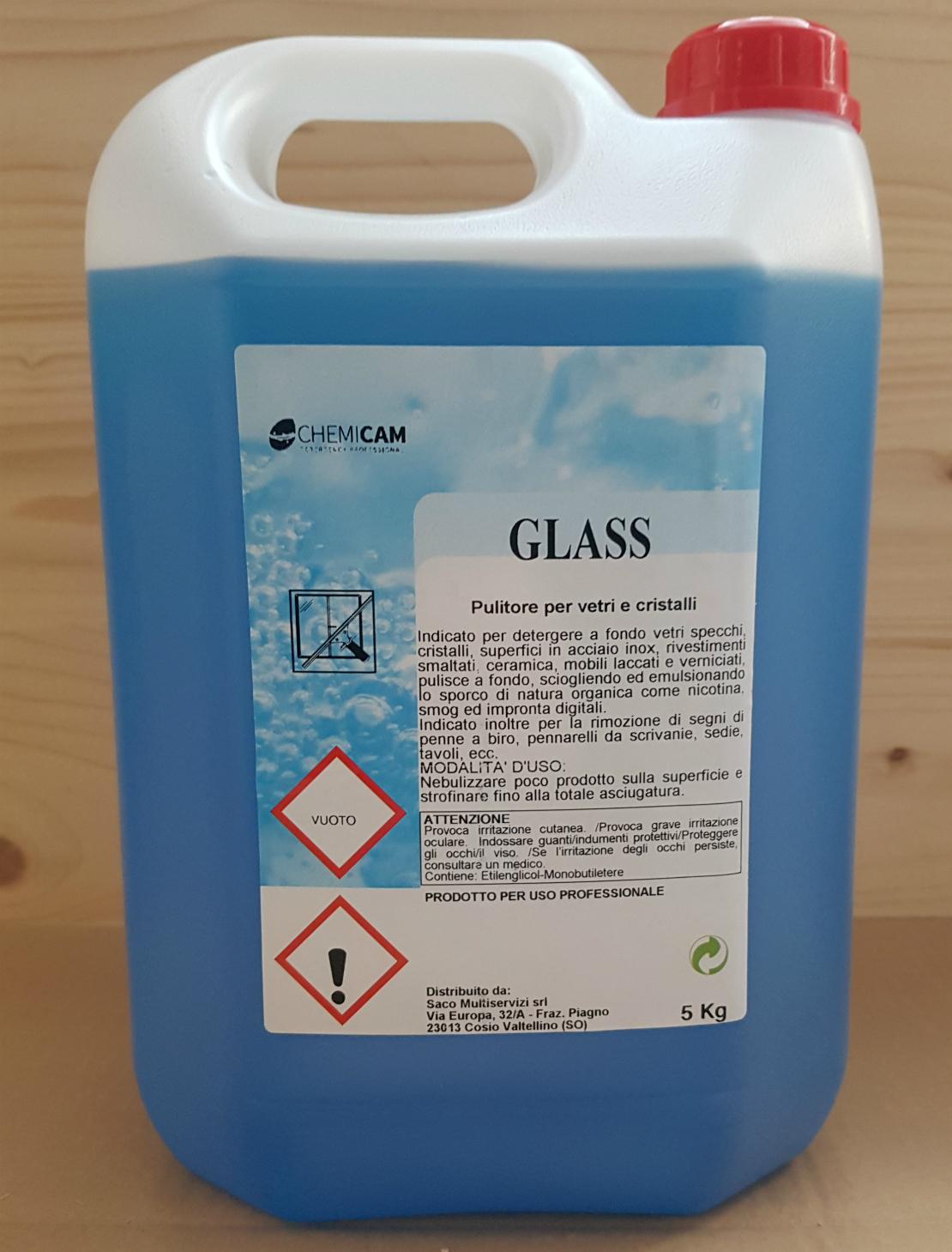 GLASS 5000 ML - Detergente formulato per detergere a fondo vetri e specchi,cristalli ecc