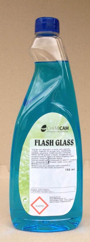 FLASH GLASS 750 ML -Indicato per detergere a fondo vetri,specchi,superfici acciaio inox,ceramiche,mobili laccati.