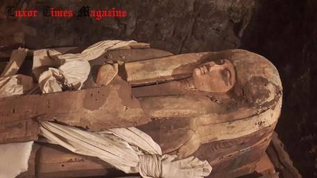 Le sarcophage d'une chanteuse retrouvé en Egypte – Photo : Louxor Times Magazine