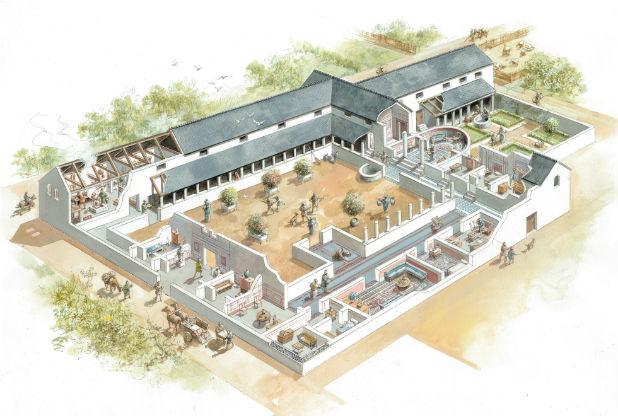 Reconstruction de ce à quoi pouvait ressembler une maison de cour dans Vine Street à la fin du 3e siècle ap J.-C.. Crédit : Mike Codd