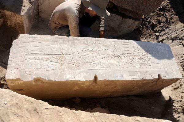 Un des piliers découvert pendant la fouille. Crédit : German Archaeological Institute