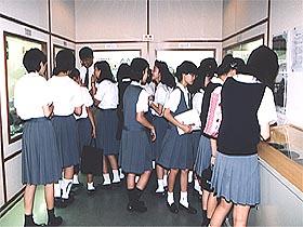 玉について勉強する大阪女学院の学生達