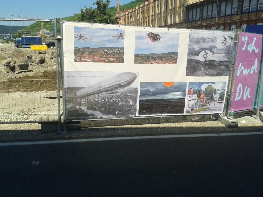 Flugobjekte, 2016,,Micha Hartmann, Bauzaunprojekt 2016- 2018