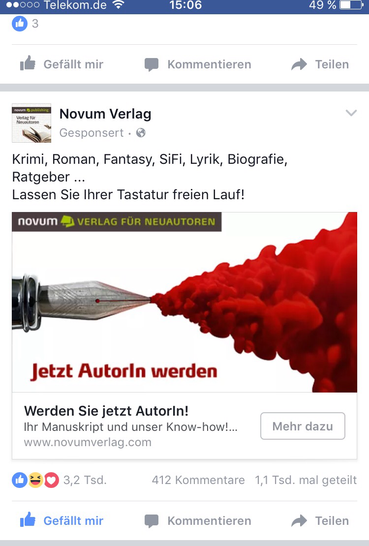 Das war sie, die schicksalhafte Anzeige auf Facebook!