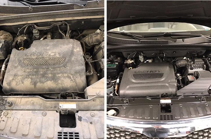links ziet u de ongepoetste motor, rechts de gepoetste motor