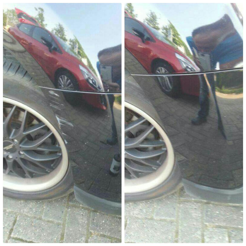 Op de linker foto ziet u dat de auto lichte schade heeft, maar een van onze vakmannen heeft dit weg weten te polijsten