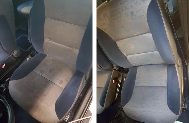 Links ziet u een ongepoetste stoel, rechts een gepoetste stoel