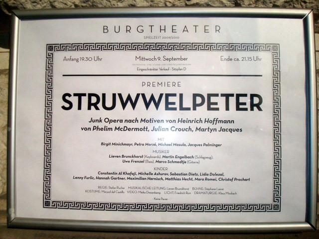 """Premierenplakat zu """"Struwwelpeter"""""""