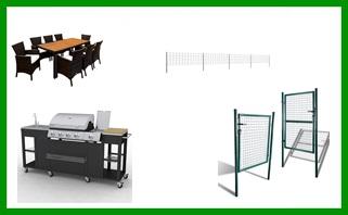 Gartenmöbel,  Zäune, Tore, Griller, Gerätehäuser, Werkzeug