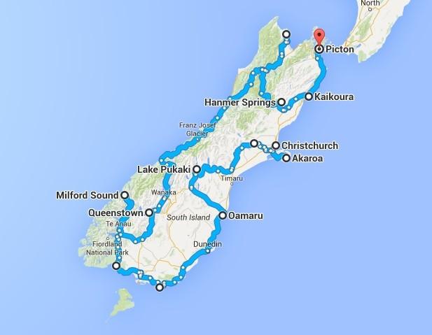Route roadtrip Zuidereiland Nieuw-Zeeland