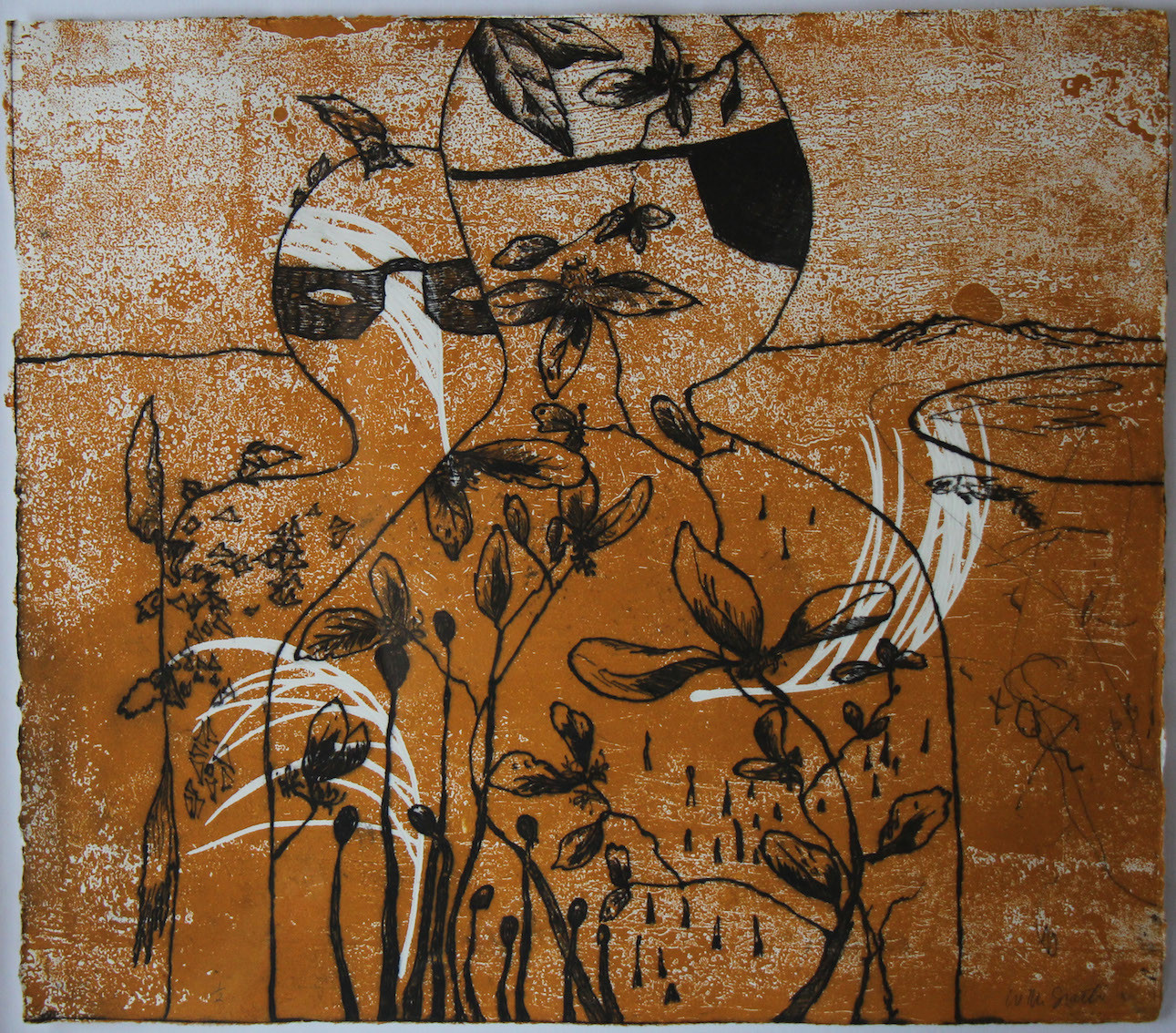 Wendy McGrath 'Looking for the mangrove [the keepers]' drypoint etching + copper etching (two plates) with stencil 47x 54cm framed - sold $500