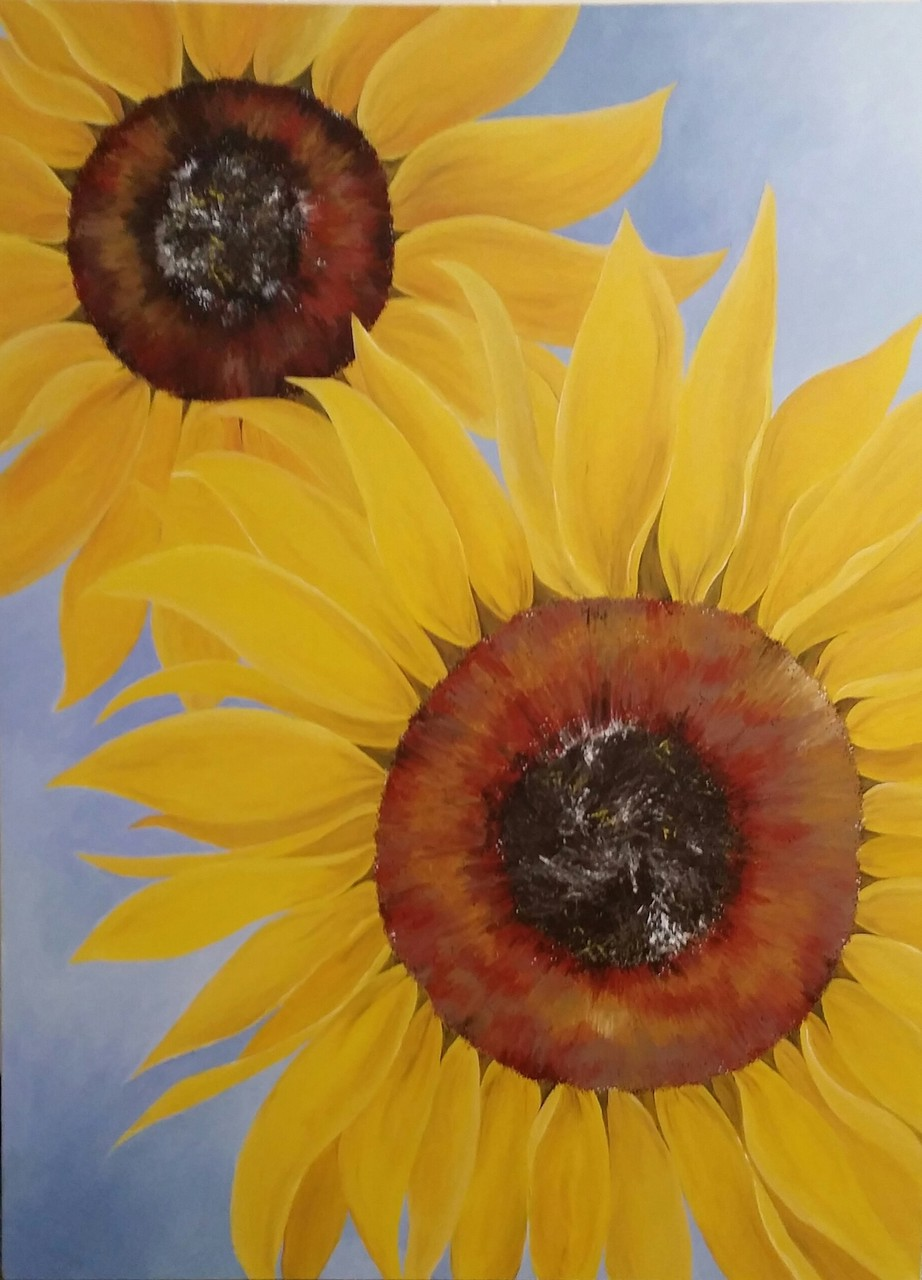 Julie Denne 'Sunflowers' - acrylic on canvas - 80x110cm - sold $140