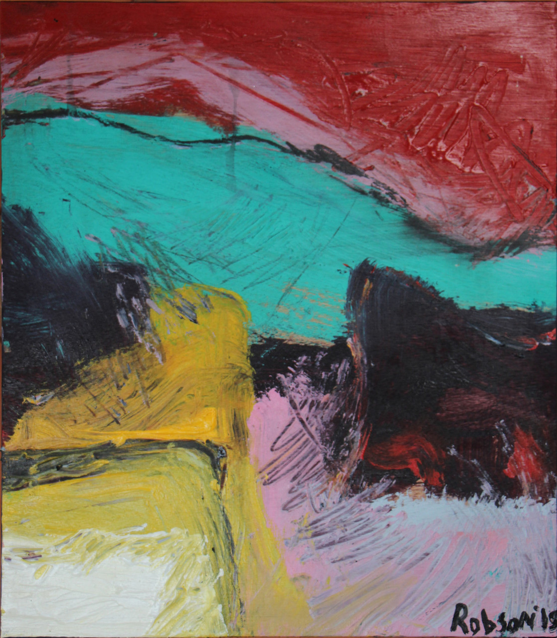 Trish Robson  -' untitled#4' - acrylic on wood panel - 35x40cm- 2015 - sold $1005 set of 4