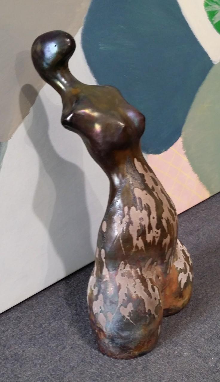 Dorothy Hookway - 'Vivienne' - raku fired ceramic 35cm tall - sold $260