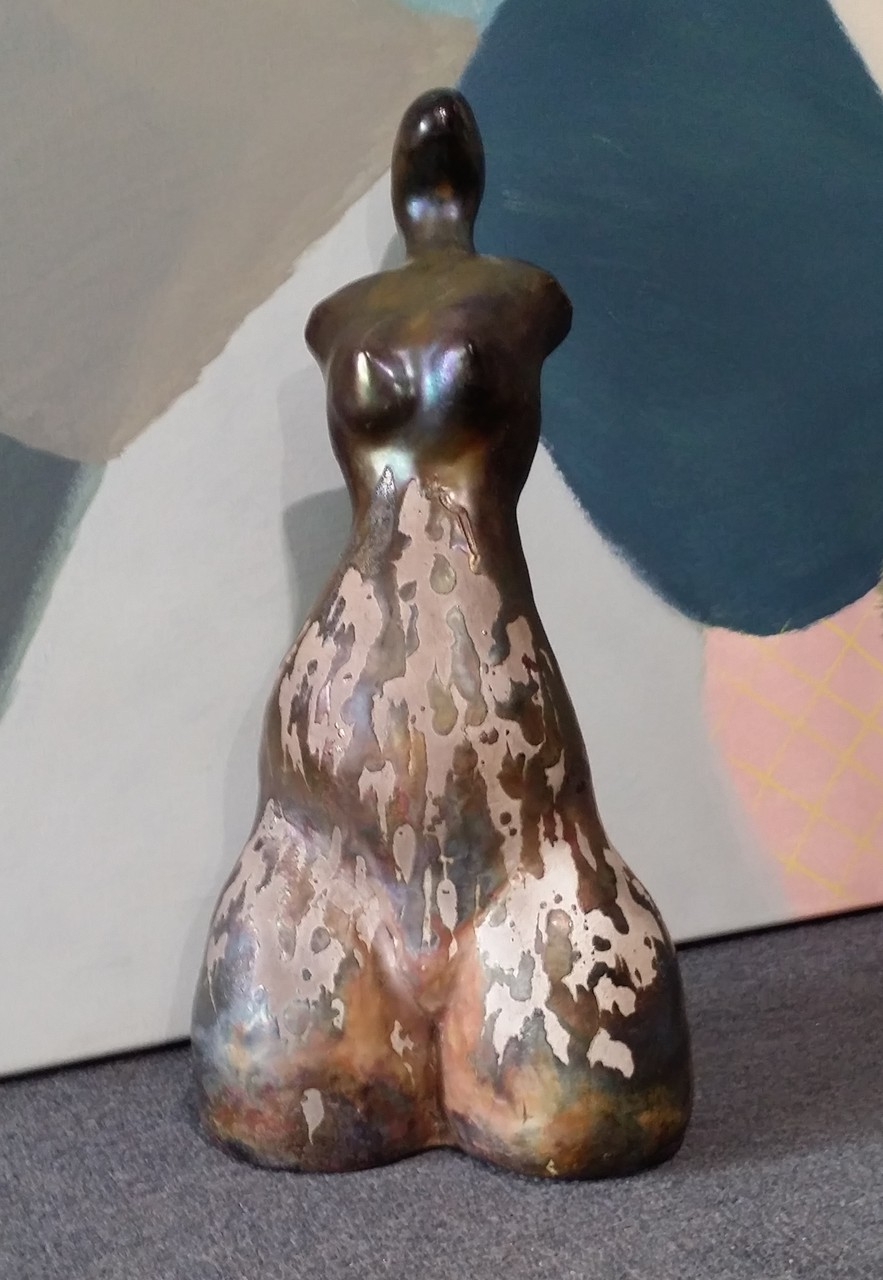 Dorothy Hookway - 'Vivienne' - hand built & Raku fired with Copper Penny Lustre - sold $260