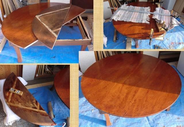 テーブル天板割れ修理