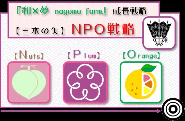 『和×夢 nagomu farm』成長戦略 【三本の矢】NPO戦略ロゴ