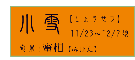 小雪【しょうせつ】アイコン 旬果:蜜柑