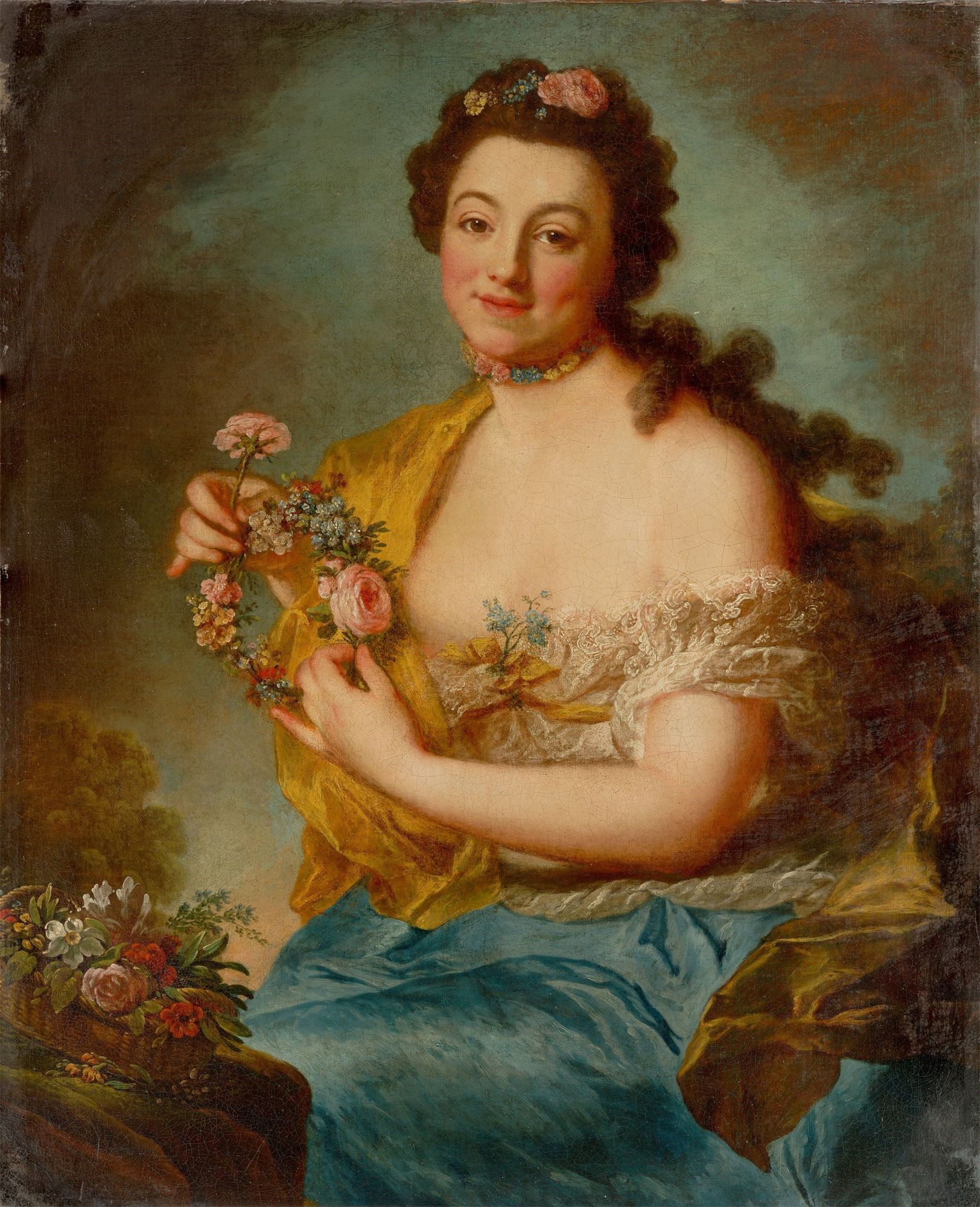 Selbstbildnis als Flora, 1765/68, Öl auf Leinwand, 94,6 x 77 cm, Villa Grisebach  © Wikimedia Commons