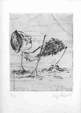 """Radierung aus dem Buch""""Wirtsblumen"""" von Ute Eckenfelder"""