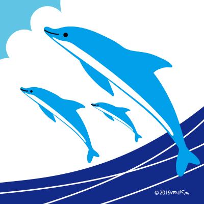 イルカ海からジャンプ(2頭)
