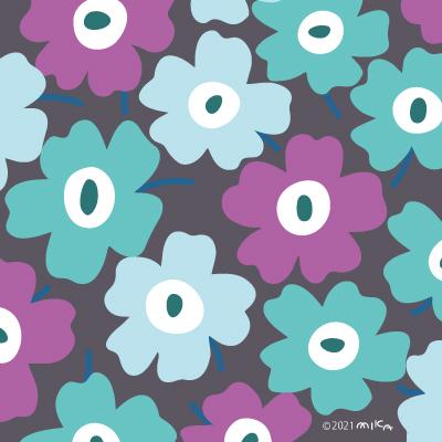 紫×水色×背景グレー(北欧風花のイラスト)