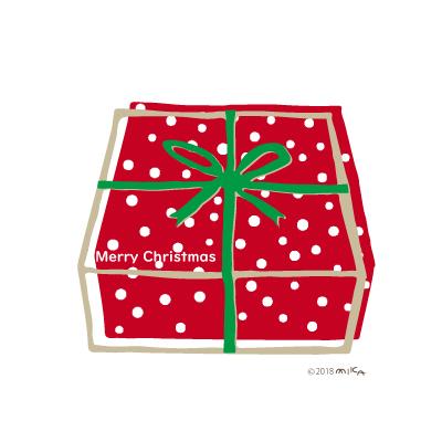 クリスマスプレゼントの箱(赤い箱に緑のリボン)