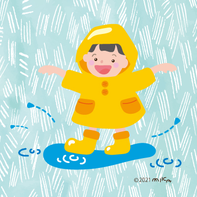 黄色いカッパ(背景雨)