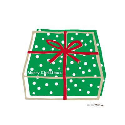クリスマスプレゼントの箱(緑い箱に赤のリボン)