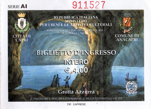 青の洞窟のチケット