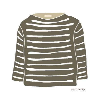 こげ茶×白のロングTシャツ